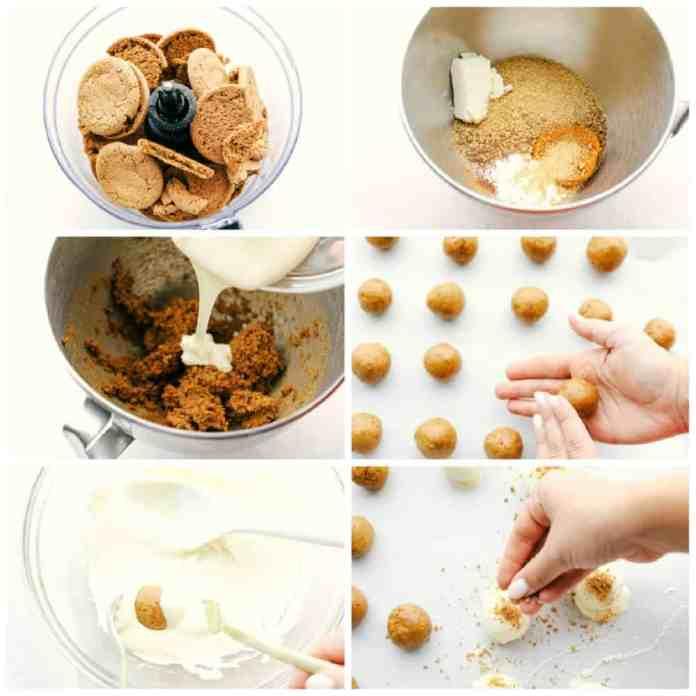 Making pumpkin cream cheese truffles with gingersnaps and graham crackers.