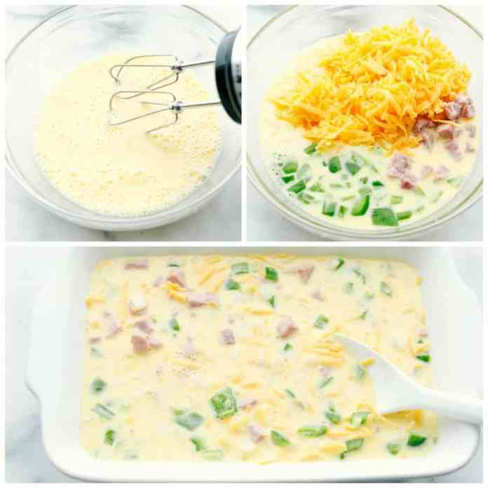 Steps to make a denver omelet.