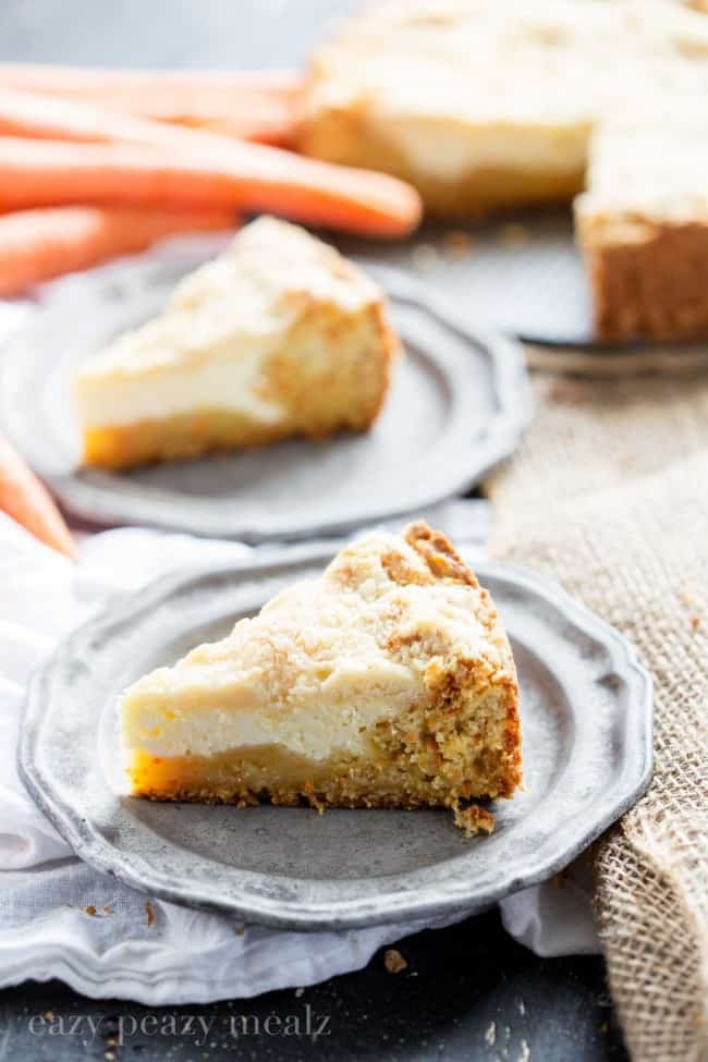 carrot coffee cake, Carrot cake base, cream cheese filling, and a crumb topping. So yummy you won't want to share!