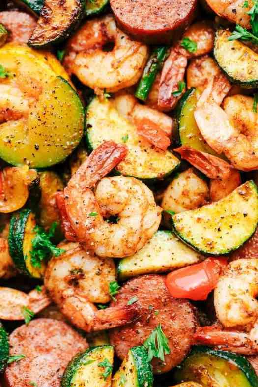 Cajun Shrimp and Sausage Vegetable Skillet 2