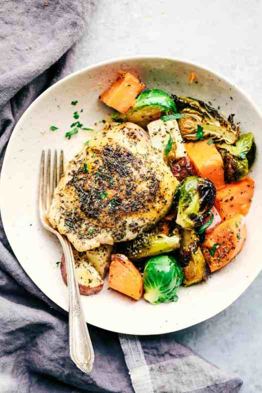 Sheet Pan Roasted Garlic Butter Herb Chicken with Potatoes and Brussels Sprouts 4