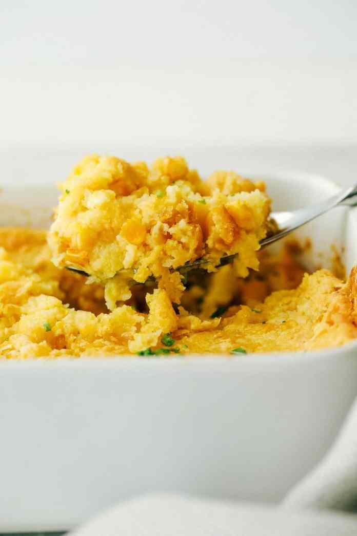 Creamy, inside, golden crust outside, 5 ingredient Corn Casserole.