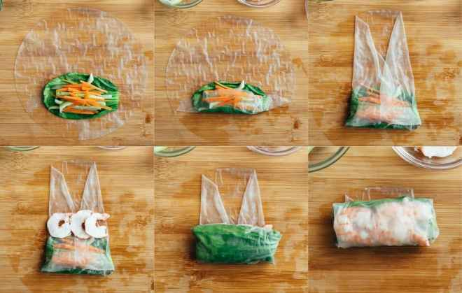 The process of wrapping up shrimp spring rolls.