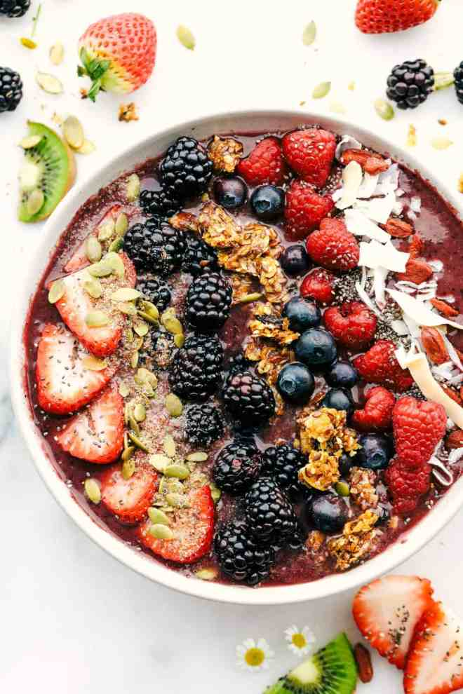The very berry acai bowl with fruit and granola over top