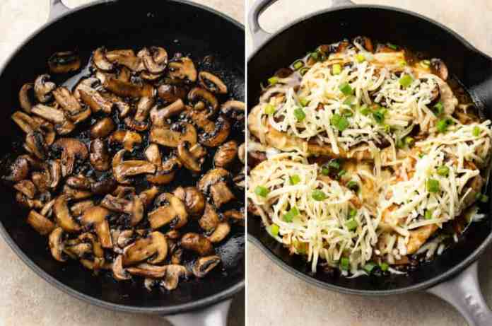 collage of Chicken Lombardy recipe (sautéed mushrooms and the skillet prior to going into the oven)