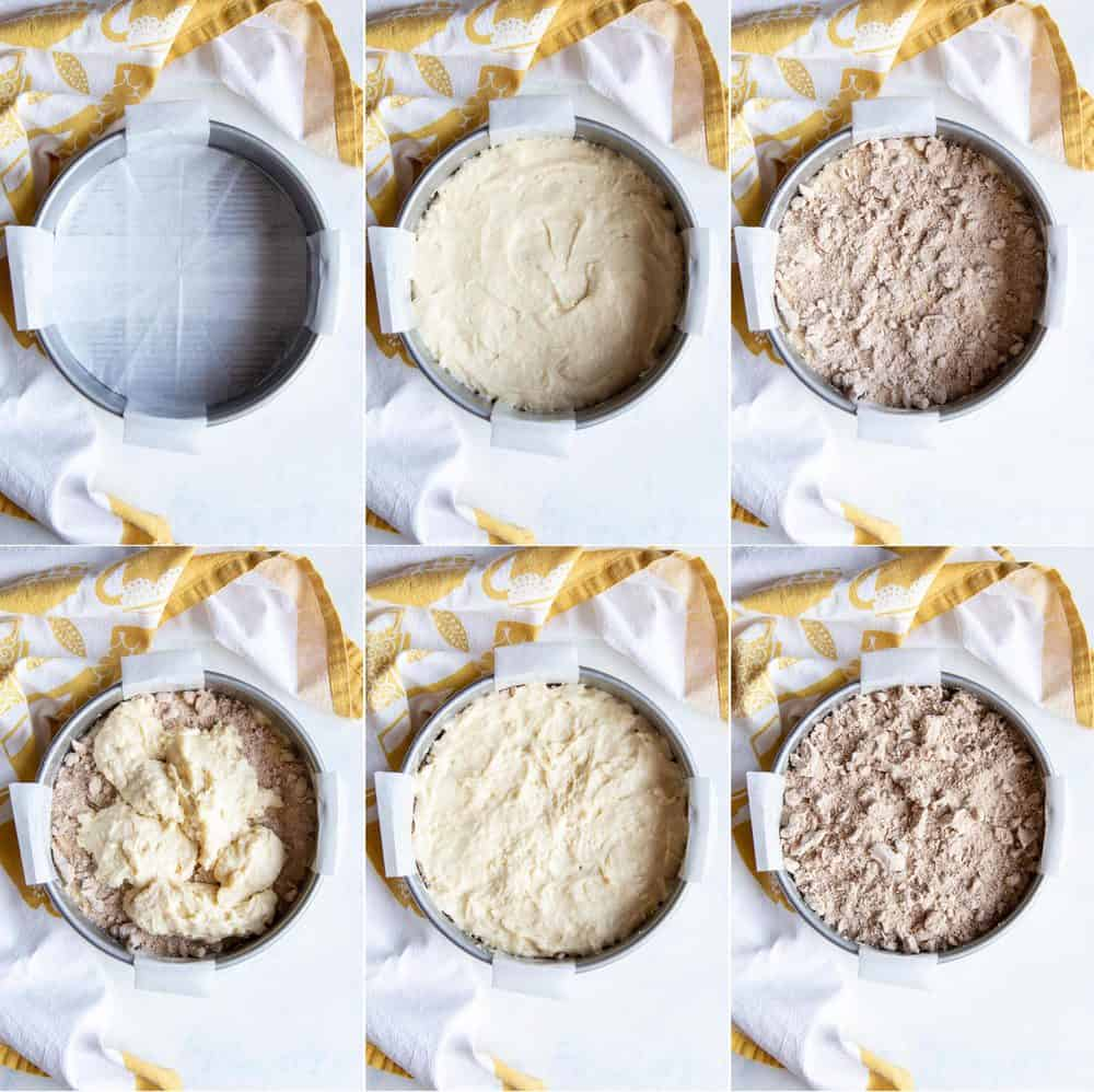 A collage of how to assemble coffee cake