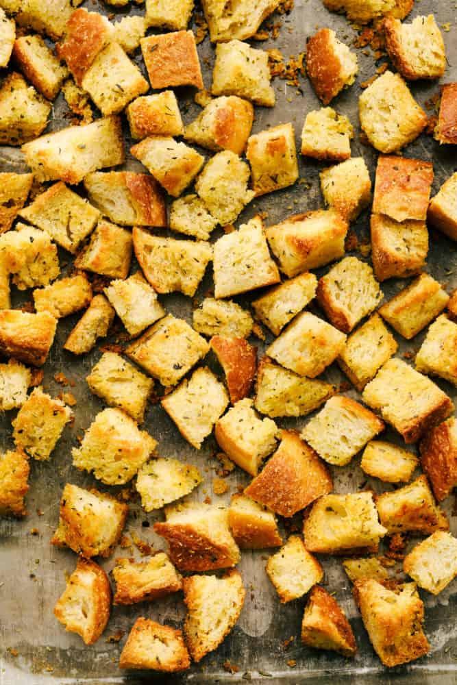 Crispy, savory, perfectly seasoned croutons.