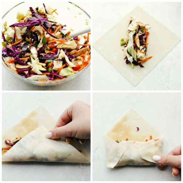 Making crispy crunchy colorful veggie egg rolls.