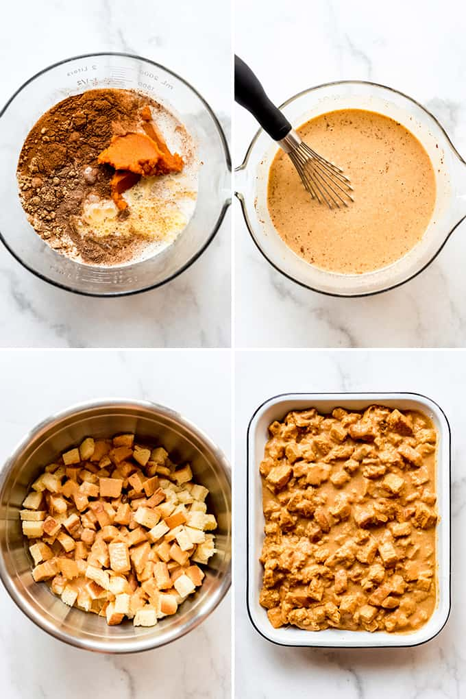 A collage of images showing steps for making pumpkin bread pudding.