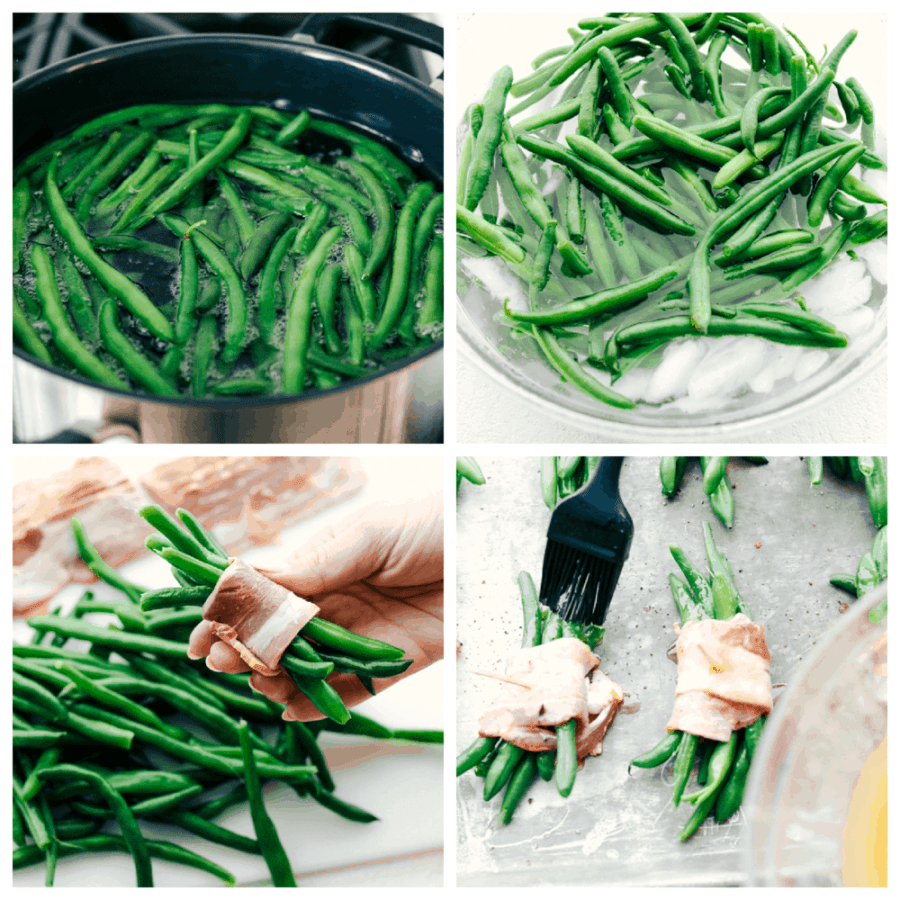 Blanching and wrapping beans with bacon and basting them for roasting.