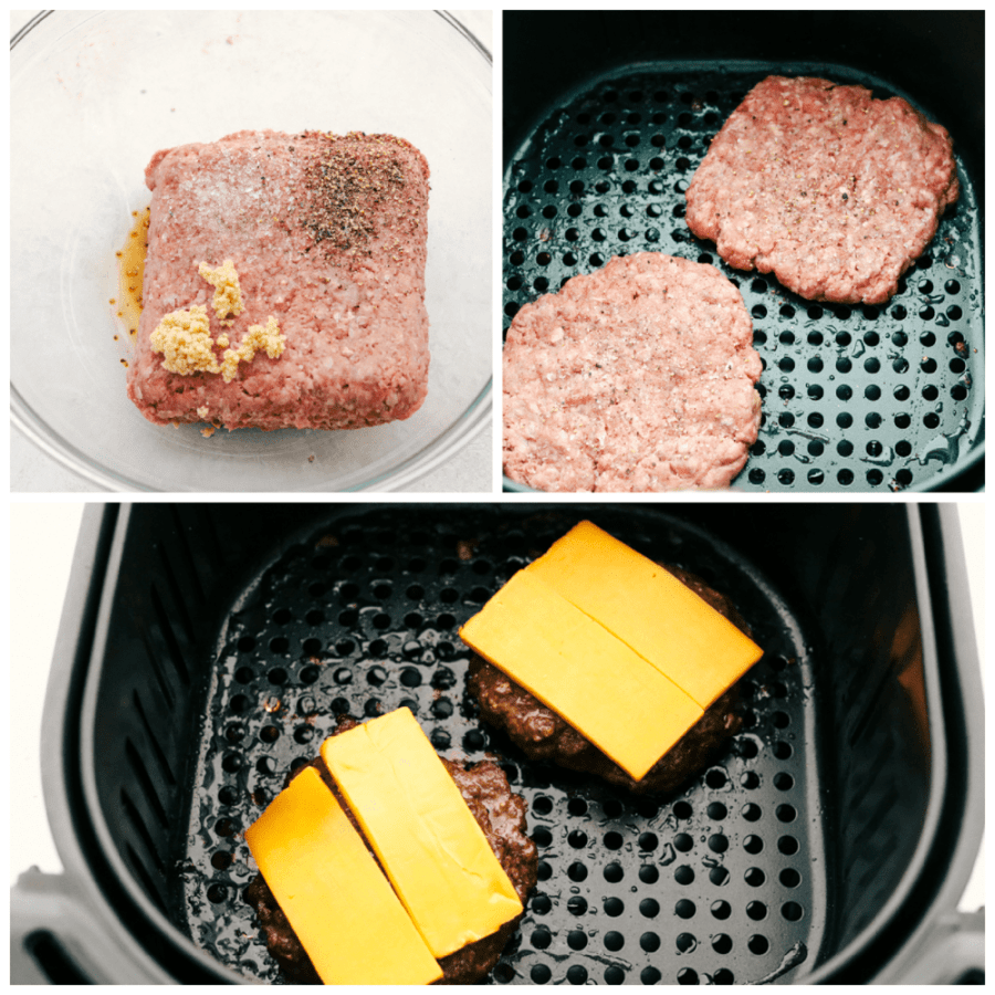 Mixing the seasoning with the hamburger and melting cheese on it in the air fryer.