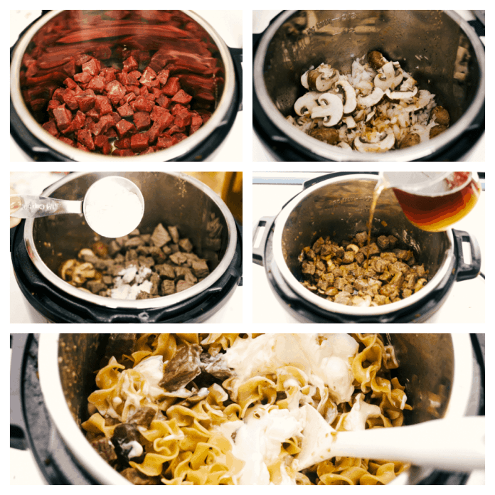Sauteing the beef, mushrooms and onions, then adding the flour and broth. After it's cooked adding the sour cream.