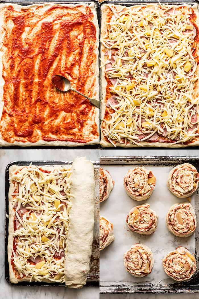 4 pictures showing how to make pizza pinwheels.