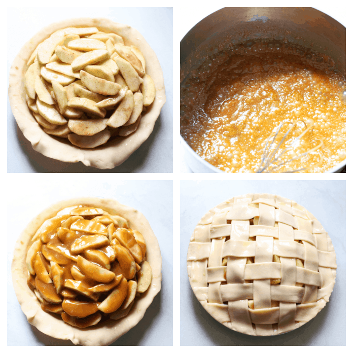 Apples piled in the pie crust, the caramel on the stove then drizzled over the apples and the finished latticed pie.