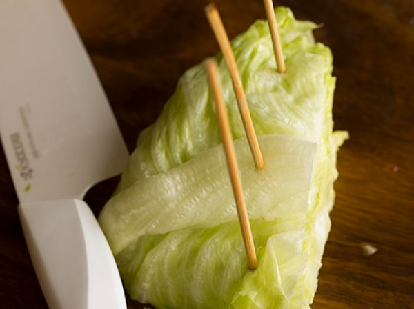 Stick bbq sticks into the lettuce