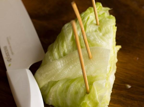 Stick bbq sticks into the lettuce