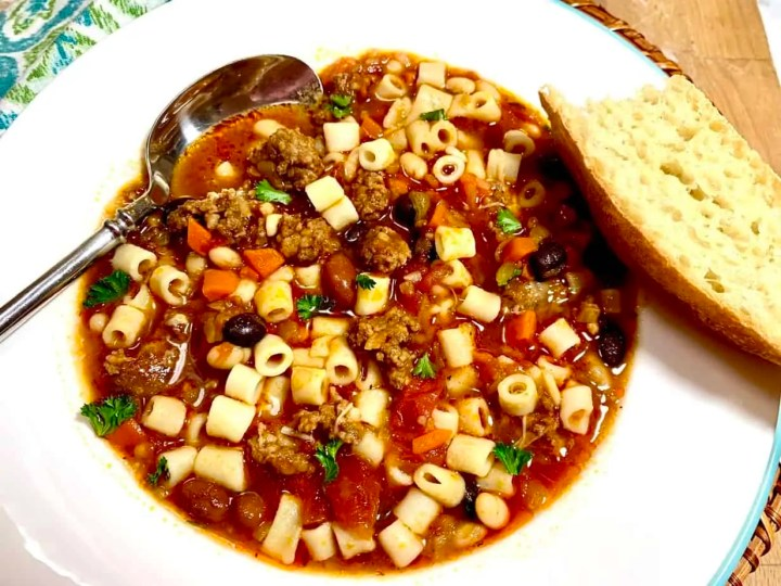 Italian sausage and triple bean soup goes well with crusty bread