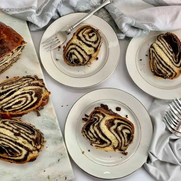 Slices of babka ready to eat