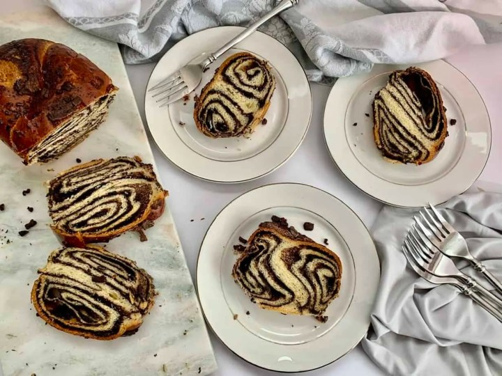 Slices of babka ready to eat of Easy Chocolate babka recipe