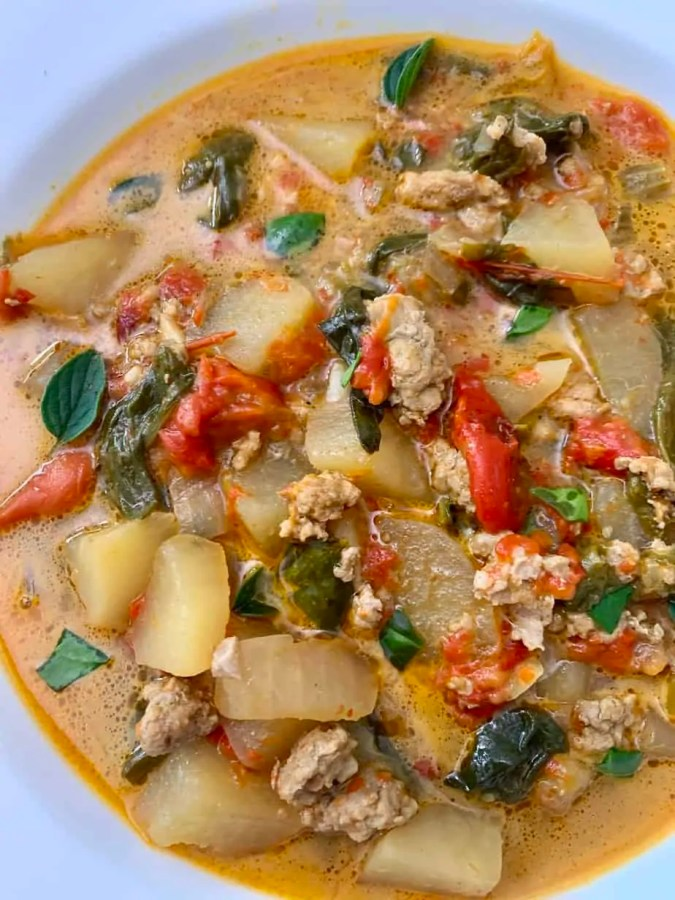 Sausage Spinach Roasted Red Pepper Soup