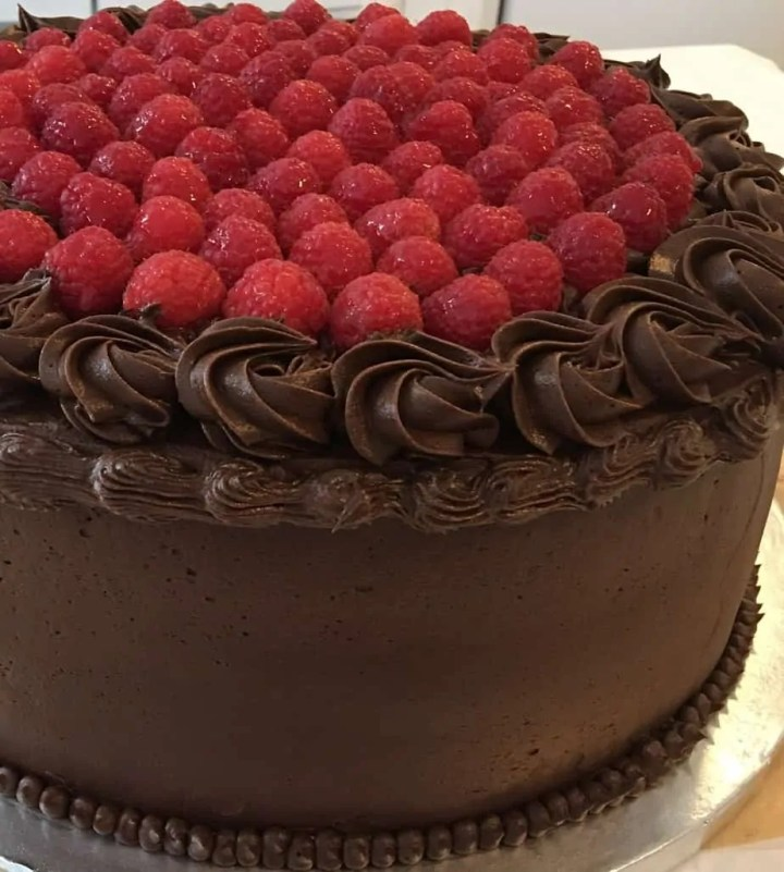 Delicious moist chocolate and raspberry cake
