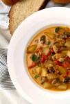 Sausage and spinach roasted red pepper soup
