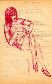 178 SB Poem draft & girl in red biro smoking