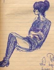 37 SB College girl, hair up & fishnet stockings
