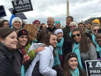 Archbishop Joseph E. Kurtz, center, joined youth from the Archdiocese of Louisville at the March for Life in Washington, D.C., Jan. 22.