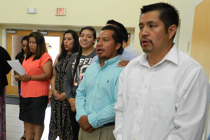 Parishioners at the Church of the Annunciation in Shelbyville, Ky., gathered prior to a liturgy in August in which 60 parishioners were honored for their leadership in the Hispanic/Latino community. Record Photo by Marnie McAllister