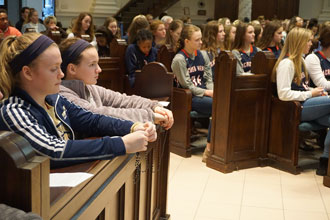 Students from Catholic high schools prayed the rosary Jan. 24 at the Ursuline Motherhouse chapel.