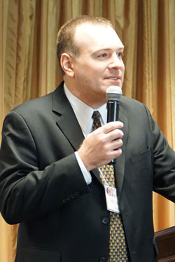 Jason Hall, executive director of the Catholic Conference of Kentucky, spoke about criminal justice reform at the Catholics @ the Capitol event Feb. 9 in Frankfort, Ky.