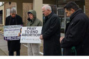 Archbishop Joseph E. Kurtz and others kept vigil during 40 Days for Life during Lent in 2016. (Record Photo by Marnie McAllister)