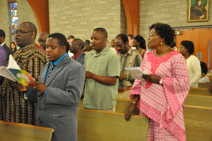 About 75 people gathered at St. Thomas More Church April 16 for the Memorial Service for the Victims of Violence, War and Genocide in Africa.