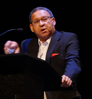The Rev. Allan Boesak spoke about apartheid in South Africa and the path to reconciliation at the 21st Festival of Faiths May 18 at Actors Theatre of Louisville. (Record Photo by Ruby Thomas)