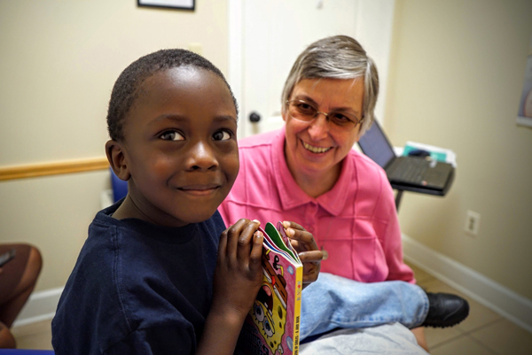 Four-year-old Jacobi was treated for a cold by Sister of Charity of Nazareth Paula Merrill in October 2015 at the Lexington Medical Clinic in Lexington, Miss. (Photo courtesy of the Sisters of Charity of Nazareth)