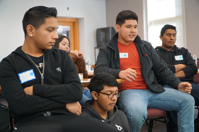 """Middle and high school students were among about 120 teens from 12 parishes who attended the """"Encuentro V Adolescent Retreat"""" on March 4 at the Maloney Center, 1200 S. Shelby St. These students took part in a group discussion about times they felt discriminated against. (Record Photo by Ruby Thomas)"""