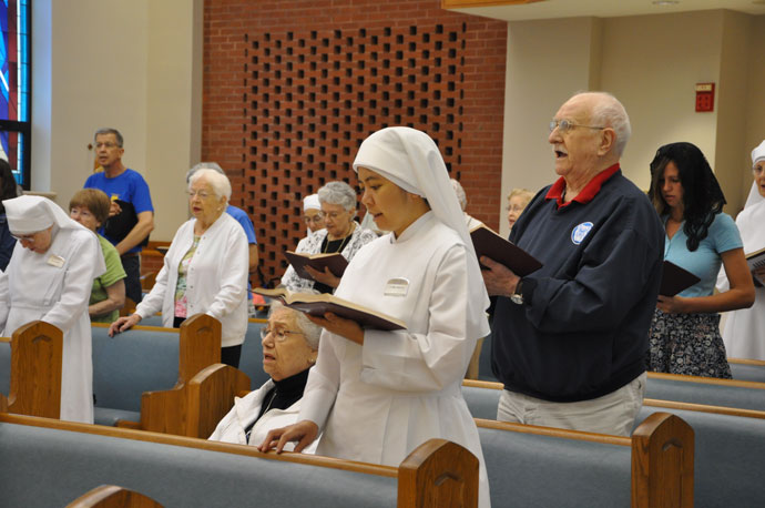 Little Sister of the Poor Mary Raymond sang during a Mass observing the Fortnight for Freedom June 23 at the Little Sisters of the Poor Chapel, 15 Audubon Plaza Drive. (Record Photo by Jessica Able)