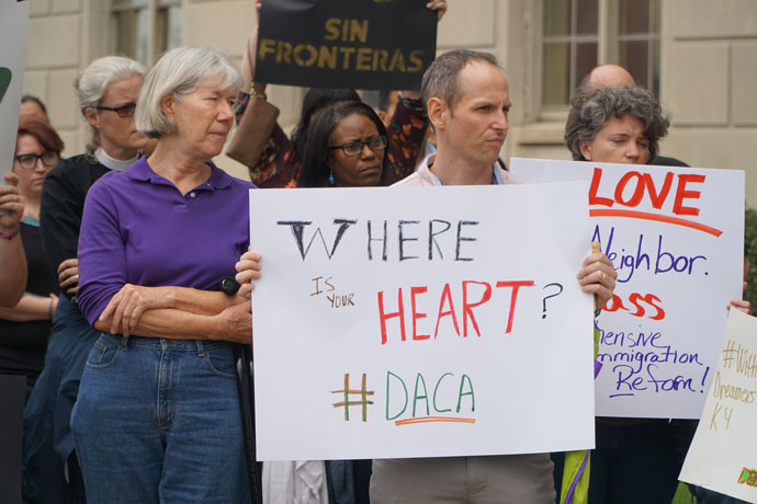 Supporters of the Deferred Action for Childhood Arrivals (DACA) program showed support for DACA recipients and other undocumented immigrants at a rally Sept. 5 in downtown Louisville.