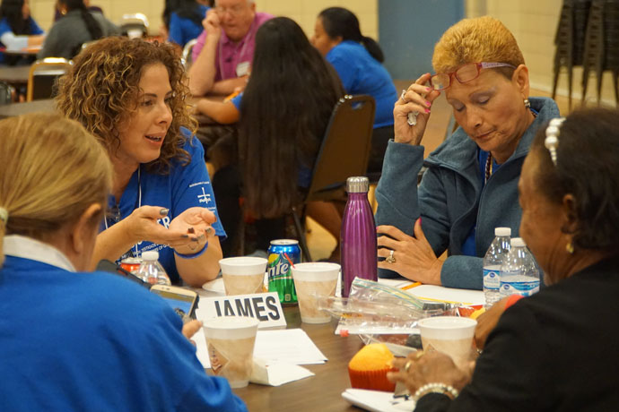 A group of parishioners from St. James Church in Elizabethtown, Ky., took part in a small-group activity at the archdiocesan Encuentro Sept. 16. (Record Photo by Ruby Thomas)