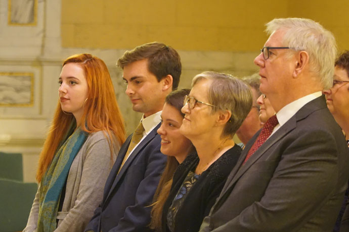 Meghan Donovan, Cole Handy, Caitlin Donovan, Dr. Susan M. Donovan and Dr. Bill Donovan, from left, attended the Inauguration Mass at St. Agnes Church Oct. 27. Dr. Susan M. Donovan was formally inaugurated as the fourth president of Bellarmine University during a ceremony in Knights Hall later in the day. (Record Photo by Jessica Able)