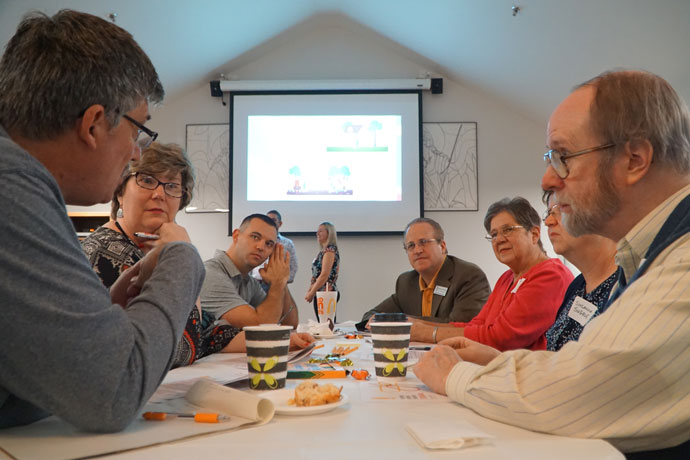"""Staff and volunteers from local service agencies took part in a discussion during the """"Reimagine Charity"""" seminar held at St. Gabriel Church, 5505 Bardstown Road, Nov. 4. (Record Photo by Ruby Thomas)"""