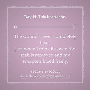 The Recovering Pessimist: Day 14 #30layers#30days -- This heartache. | www.therecoveringpessimist.me #30Layers#30Days  #amwriting #recoveringpessimist #optimisticpessimist