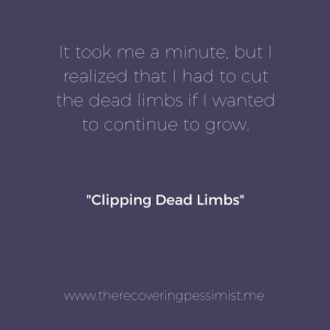 The Recovering Pessimist: Clipping Dead Limbs -- Trees are pruned to encourage growth. The same applies to people. If you don't cut the dead limbs from your life, you won't continue to grow. | www.therecoveringpessimist.me #amwriting #recoveringpessimist #optimisticpessimist
