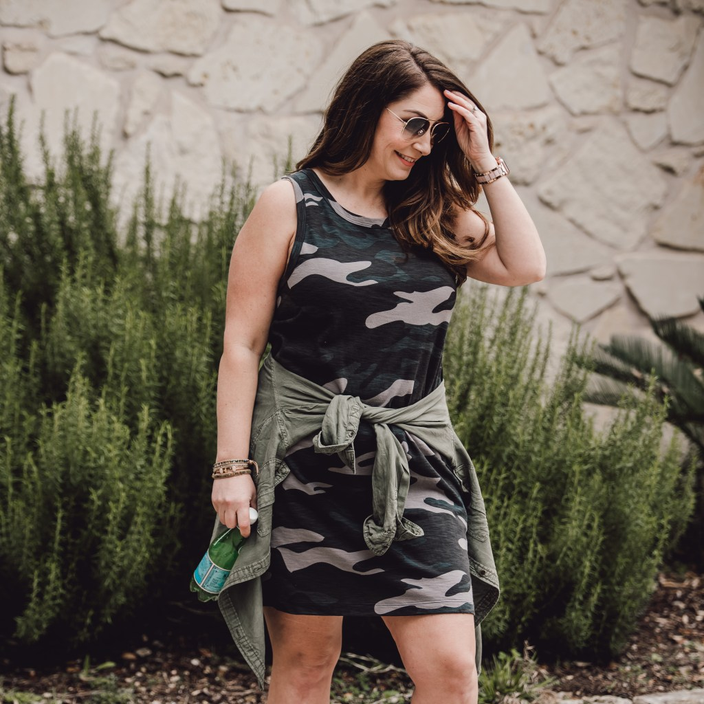tank dress with military shirt