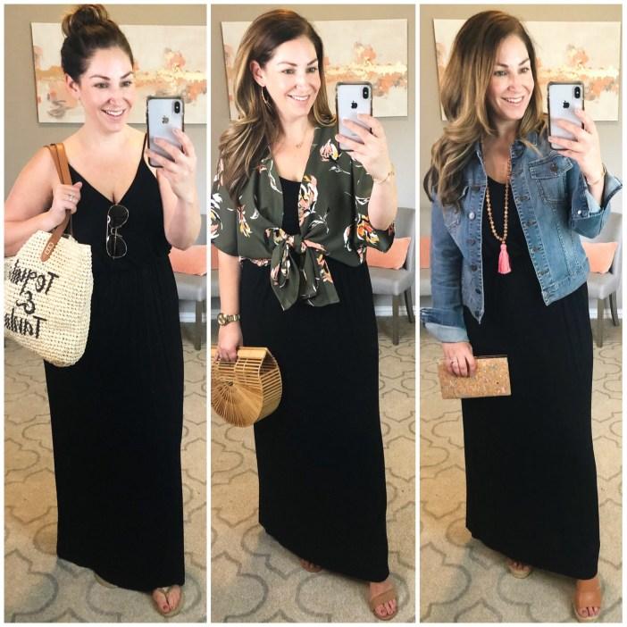 Classic Black Maxi dress styled 3 ways
