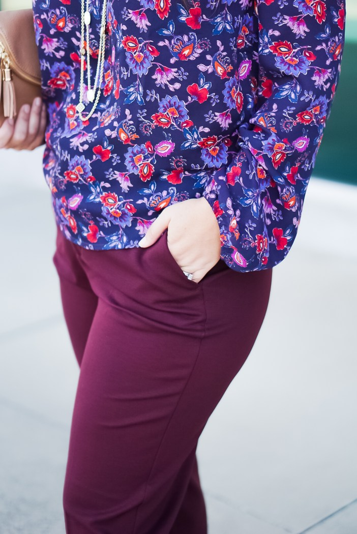Fall 2019 // Business Casual Look //  Liverpool Los Angeles Kelsey Trouser and Gibson floral printed ruched top