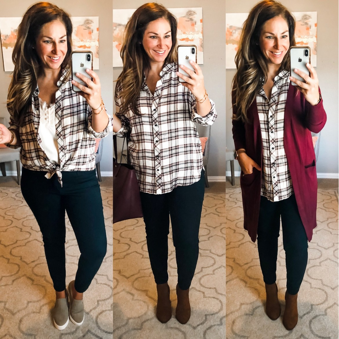 Plaid shirts are a staple for fall