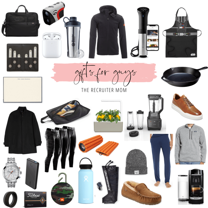 Gift Guide // For Guys: The Best Gifts for the sporty guy, excutive guy, casual guy and chef guy. Best gifts of 2019 for all different types of guys. #giftguide#giftsforhim #giftsforboyfriend #giftsforguys#giftguide2019