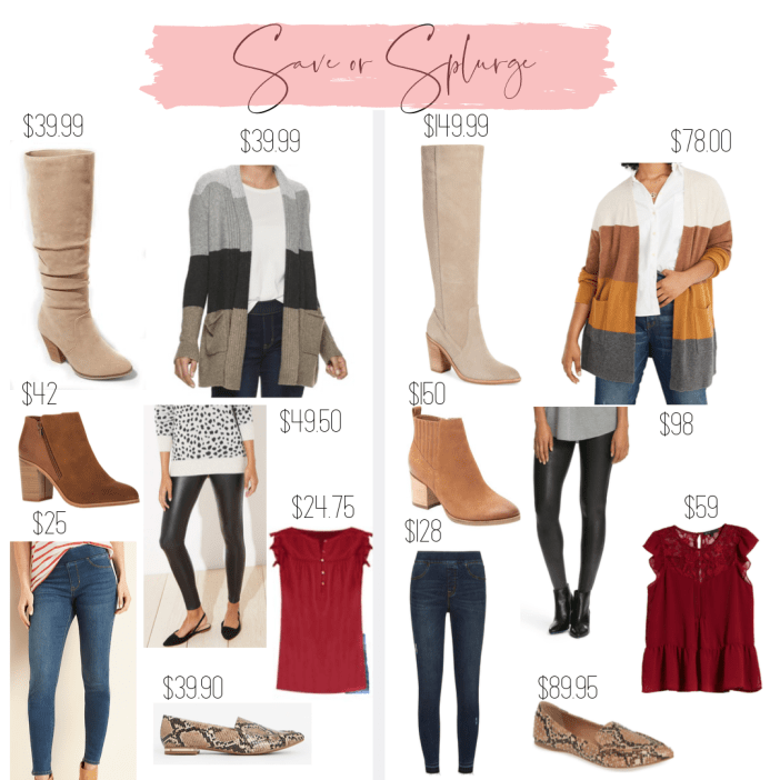 Splurge or Save Fall 2019- Tall boots, cardigans, booties, faux leather leggings, snakeprint and blouse